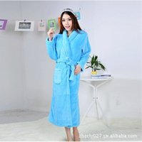 Wholesale Haley source nightgown female blue bathrobe bathrobe coral fleece winter pajamas coral velvet