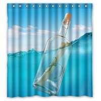 beach screen - Hot Selling Polyester Shower Curtain Waterproof Print Wishing Bottle OnThe Beach Bath Screen Size x72 Inch With Hooks