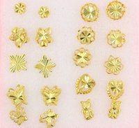 big butterfly earrings - Women nail Earrings Mix order butterfly flowers animal style Pairs plating K Yellow Gold Filled GF Wives big Lady s Earrings Jewelry