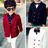 Cheap Boys Clothes Boy Suit Kids Gentleman Coat Double-Breasted Preppy Jackets Children Clothing Cotton Jacket Overcoat Black Red White I2974