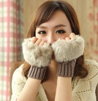 Wholesale Fashion Womens Girls Winter Faux Rabbit Fur Crochet Wrist Warmer Oversleeve Gloves Hand Warmers Wristbands Fingerless Gloves Colors WG03