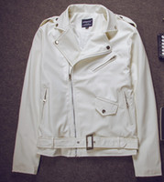 Wholesale Justin bieber Fashion Men s leather jacket locomotive leather Inclined zipper white leather jacket