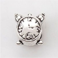 Cheap Small alarm clock alloy bead Charms Silver Bead Fit European Bracelets & Bangles Necklace Wholesale