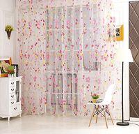 Wholesale 2 Colors Floral Tulle Voile Door Window Curtain Drape Panel Sheer Scarf Valances M
