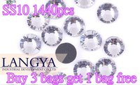 Wholesale Buy bags get bag free SS10 Clear Crystal DMC HotFix FlatBack Strass Rhinestones Hot Fix Crystal Stones