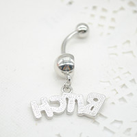 Wholesale Belly Button Navel Ring Piercing Hot Sexy Charm BITCH Letter Navel Ring Nail Body Piercing Body Jewelry F60SS0210 M1