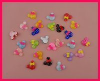 Wholesale 50PCS Polka dot printing mm mickey head acrylic beads with bow for DIY jewelry accessories cute minnie charms Bargain for Bulk