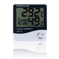 Wholesale New released LCD Digital Temperature Tester Wireless Thermometer Hygrometer Temperature Humidity Meter Clock Electronic Multi function