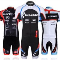Wholesale 2014 CUBE men s cycling Jersey suit with short sleeve bike shirt padded bib short in cycling clothing breathable bicycle wear