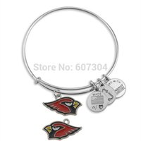 arizona hand - Men Zinc Alloy Rhodium Plated Hand made Souvenir Football Team Logo Enamel Arizona Cardinals Charm Bangle Jewelry