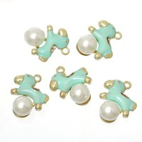 "Cheap Charm Pendants Rocking Horse Light Golden Mint Green Inlaid Acrylic Imitation Pearl 24mm(1"")x 20mm(6 8""),10 PCs 2015 new"