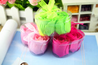 bath bombs - Heart shaped Roses Layer Soap Flowers Bath Bombs Flakes Gifts Pink Rose Green Whole Sell