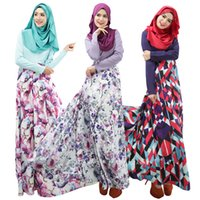 arab dress women - 2016 New Fashion Floral Print Muslim Dresses Arab Women Robes Long Islamic Ethnic Clothing Middle East Casual Dress Junj025