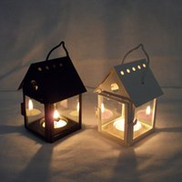 Wholesale Iron Candlestick small house creative black and white wedding Continental lantern optional
