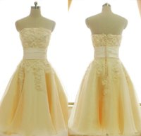beige bridesmaid dresses - 2015 Light Yellow Beige Strapless A Line Knee Length bridesmaid Dresses With Appliques Flower Bead Button Organza Party Homecoming Gown