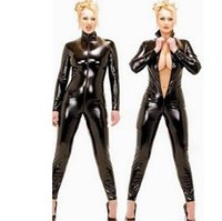 beauty dove - Sexy lingerie Paint women jumpsuits The queen AV costumes Long zipper open fork Beauty lady diving Faux Leather female sm suit
