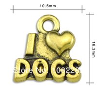 Wholesale Antique bronze plated I love dogs Charms