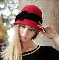 australia hat khaki - New Australia Women s Fashion cloche Bowler Fedora Hat Wool Felt bow Cap Bucket Fedoras Hat Headwear