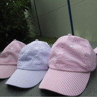 Wholesale New Design Seersucker Stripe Printing Cap Hat With Two Big Beautiful Back Long Straps As Bow Tie DOM106035