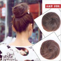 bun maker - Womens Girls Hair Bun Donut Synthetic Scrunchie Hair Bun Cover Bun Cage Bun Wrap Maker Hairpiece Clip in Hair Extension Bride Chignons FJ01