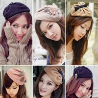 Wholesale Dream SpaceKorean version of the bow hair bands badge feather hat hairpin hairpin wool wide headband hair bands hair jewelry C329