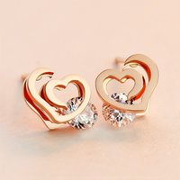 Wholesale New hot Fashion Popular K Rose Gold Plated Stainless Stee Double Heart Crystal Stud earring for wedding