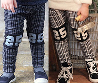 Cheap Hot 2014 Autumn Winter Boys Girls Long Trousers Plaid Patched Fingure 25 Thicken Warm Flannel Leisure Girl Pants Kids Childs Clothing J2531