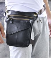american fanny pack - Genuine Leather Fanny Pack Waist Bag Phone Holder bum bag top grade quality black brown European and American hot sales design