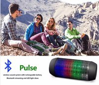 Wholesale Free DHL Mini Wireless Bluetooth Pulse Speaker Support NFC Colorful LED lights U disck and TF card portable Speaker