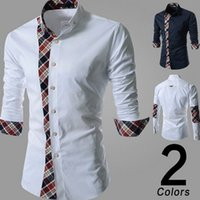 Wholesale 2016 New Men shirt casual shirt mens dress shirts polo mens floral print shirt men s long sleeve shirt plaid shirt stitching