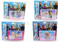 Wholesale new popular Frozen Elsa Anna princess kid children s girl coin purse bag wallet watch set cute candy box for Christmas gift