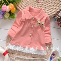 Cheap Wholesale-2015 Autumn Korean baby girls Standard chest bow flowers cardigan jackets,children fashion lace coat,V1031B