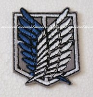 Wholesale 2pcs Anime Shingeki no Kyojin Embroidered Iron on Patch Attack On Titan cm wings