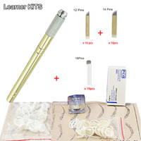 Wholesale Eyebrow kit permanent makeup machine tattoo eyebrow tattoo microblading pen kits with needle blade for learner use