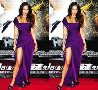 Cheap Purple Graceful Megan Fox Celebrity Dresses 2015 Short Sleeve One Shoulder Side Slit Floor Length Prom Dress Evening Dresses