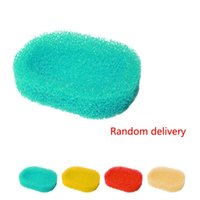 Wholesale barnd new random delivery candy colro Sponge Soap Dish Plate Bathroom Kit Soap Holder