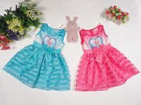 Wholesale 2015 AAA quality color size kid boy girl spring autumn Sleeveless stripe print bowknot party dance sweet princess dress