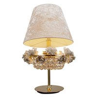 arte bar - Christmas ceramic loft vintage modern arte deco crystal home decoration bar table golden lamp with fabric shade flower