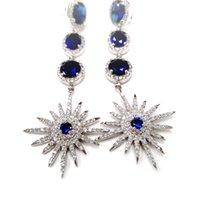Cheap Popular Earrings for Women Sun Flowers CZ Diamond Earrings for Women White Gold Plated Wedding Earrings Drop Earring AES33659W