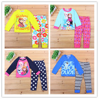 Wholesale The Snow Queen Kids Sleepwear Children Pajamas Autumn Clothes Anna Elsa Cartoon Baby Cotton Underwear T shirt and trousers DHl