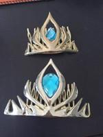 achat en gros de reine bleu tiare-Couronne Frozen elsaanna Reine elsa Coronation couronne en plastique cheveux cosplay couronne diadème de cosplay or / rouge / rose / bleu 4colours