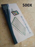 Wholesale 500X Keys Mini Wireless Keyboard Slim Streamline Design Ghz Bluetooth Keyboards for Tablet PC Laptop PC With Retail Packag JP