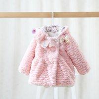 Wholesale New Winter Children fleece coat thicken warm baby girls hooded princess outwear kids flowers fleece coat children clothing pink beige A7207