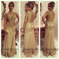 Wholesale 2015 Long Sleeves Prom Dresses Mermaid Sheer Open Back Gold Applique Lace Dresses Party Evening Gowns Tulle Plus Size Formal Pageant Dresses