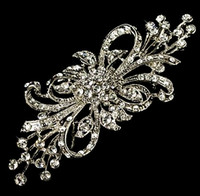 Wholesale 3 Inch Rhodium Silver Gold Tone Extra Large Size Clear Rhinestone Diamante Wedding Bouquet Brooch