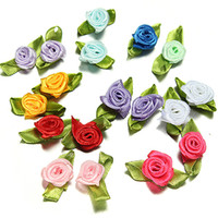 Wholesale 100Pcs Satin Ribbon Roses Flower Appliques Scrapbooking Sewing DIY Handmade Small Wedding Party Craft Decor