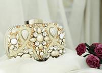 Wholesale FASHION Mini Evening Handbags Pearls Beaded Crystal Wedding Bridal Handbags Shiny Party Event Bags