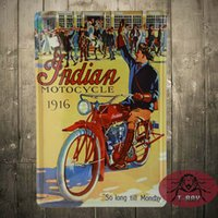 antique motorcycle works - Indian Motorcycle so long till monday all guys after working Metal Tin Signs Poster Wall Decor