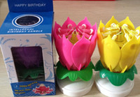 Wholesale good New Lotus Rotating Music Candles Lotus Petal Wedding Birthday party Flower Music Candle Lotus style