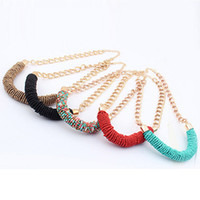 Cheap 1PC Fashion Women Gold Chain Seed Bead Woven Pendant Necklaces Freeshipping&Wholesale Feida